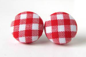 Red checks stud earrings by KooKooCraft