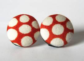 Orange white earrings by KooKooCraft