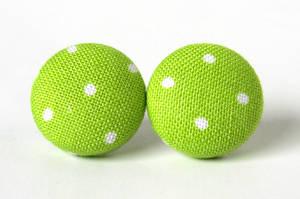 Green ear studs polka dots by KooKooCraft