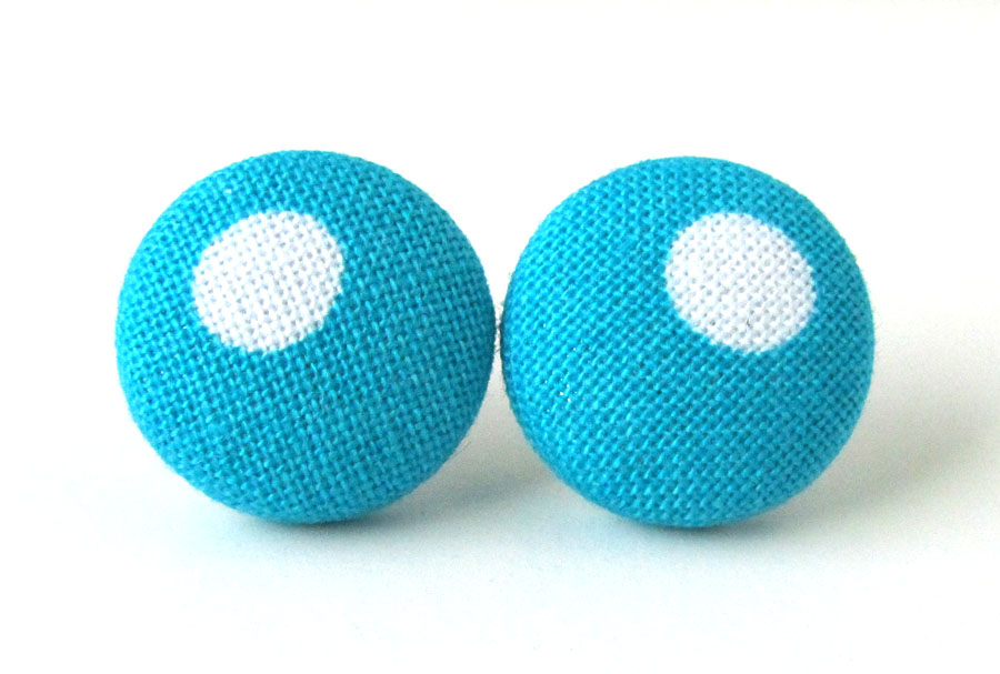Blue button earrings studs white dot turquoise by KooKooCraft