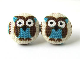 Owl button earrings studs white blue brown bird by KooKooCraft