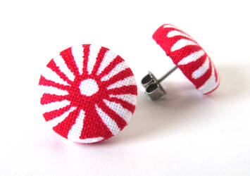 Button earrings studs red white sun summer small by KooKooCraft