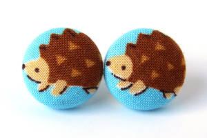 Hedgehog post earrings studs blue brown animal by KooKooCraft