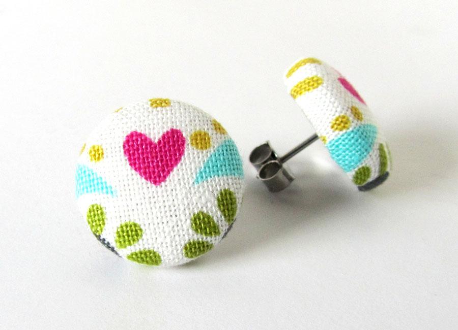 Heart stud earrings button summer bright funky by KooKooCraft