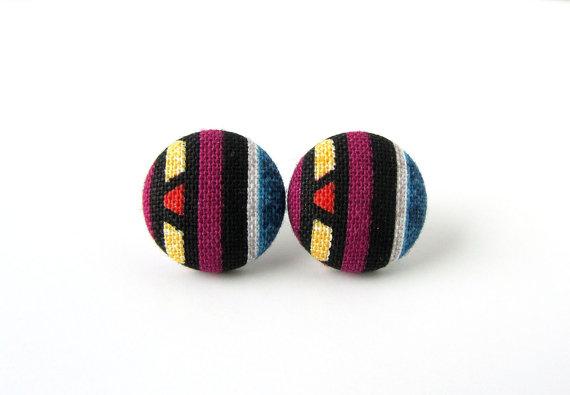 Ethnic earrings - ethnic studs - fabric button by KooKooCraft