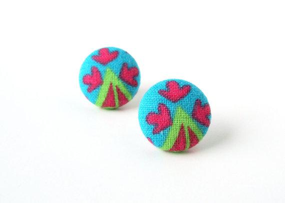 Funky stud earrings - bright fabric button earring by KooKooCraft