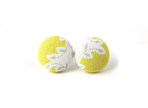 Yellow stud earrings - white gray grey fabric by KooKooCraft