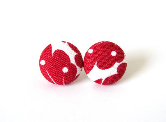Dark red earrings - red stud earrings - red button by KooKooCraft
