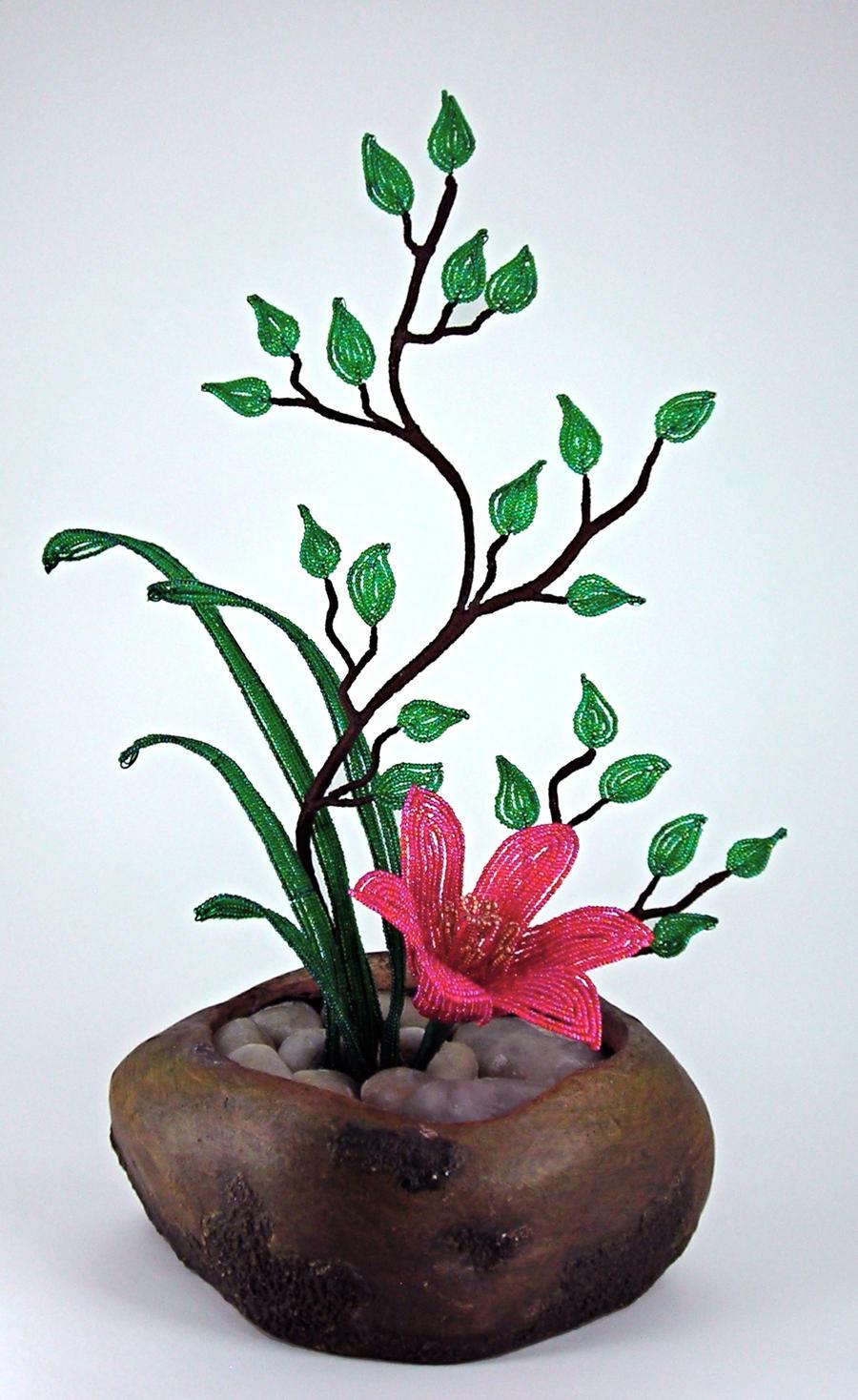 ikebana beaded flower arrangement by blue on deviantart