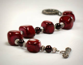 Red Stone Bracelet by Lake-Fairy-Creations