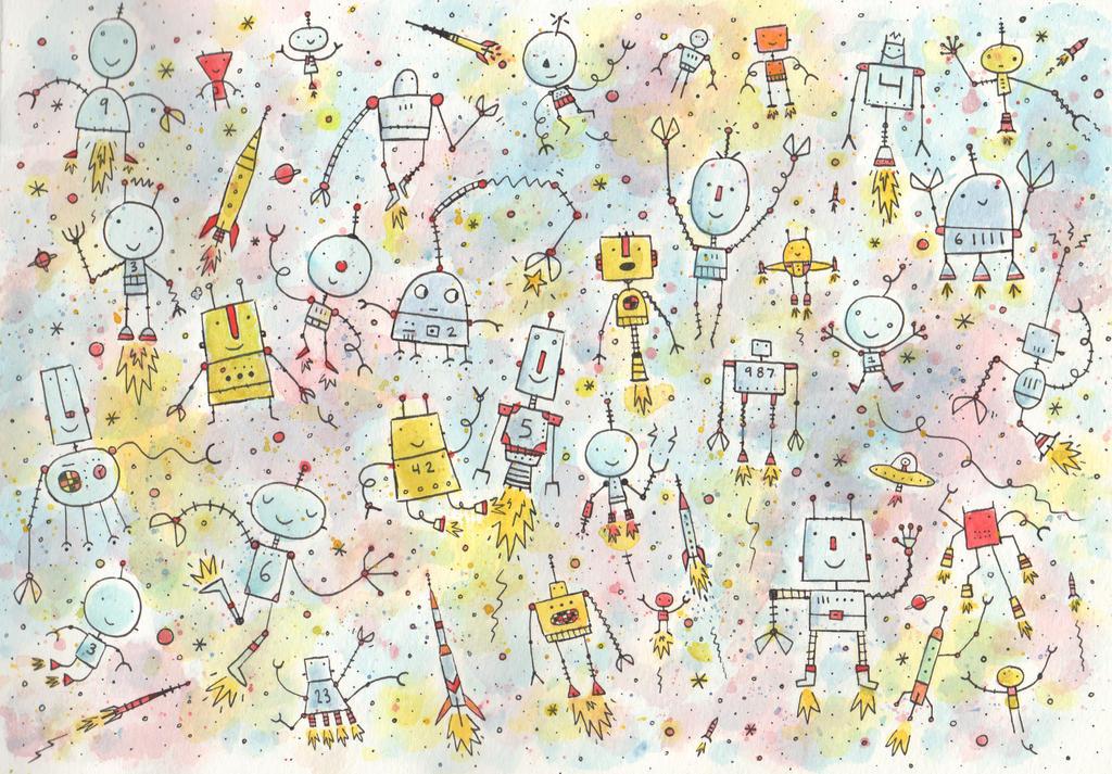ROBOTS IN SPACE by BenCPanda