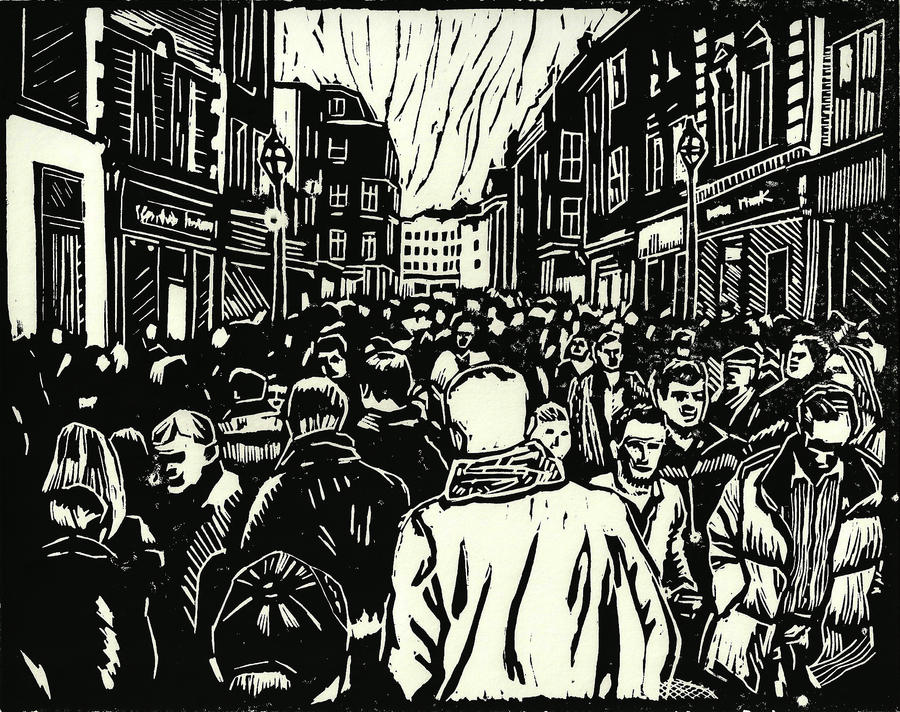 Into the crowd (Original print) by Nomad613
