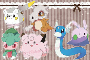 Mixed Pokemon stickers 03 by Crystal-Ribbon