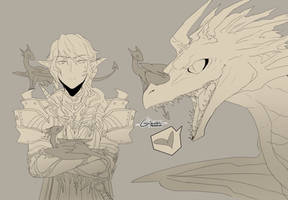 FFXIV - Aymeric and dragons by LindaVonree