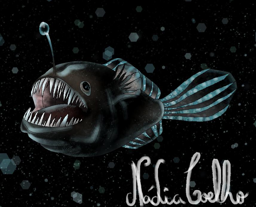 Peixe diabo negro angler fish by nadiacoelho on deviantart for Angler fish size