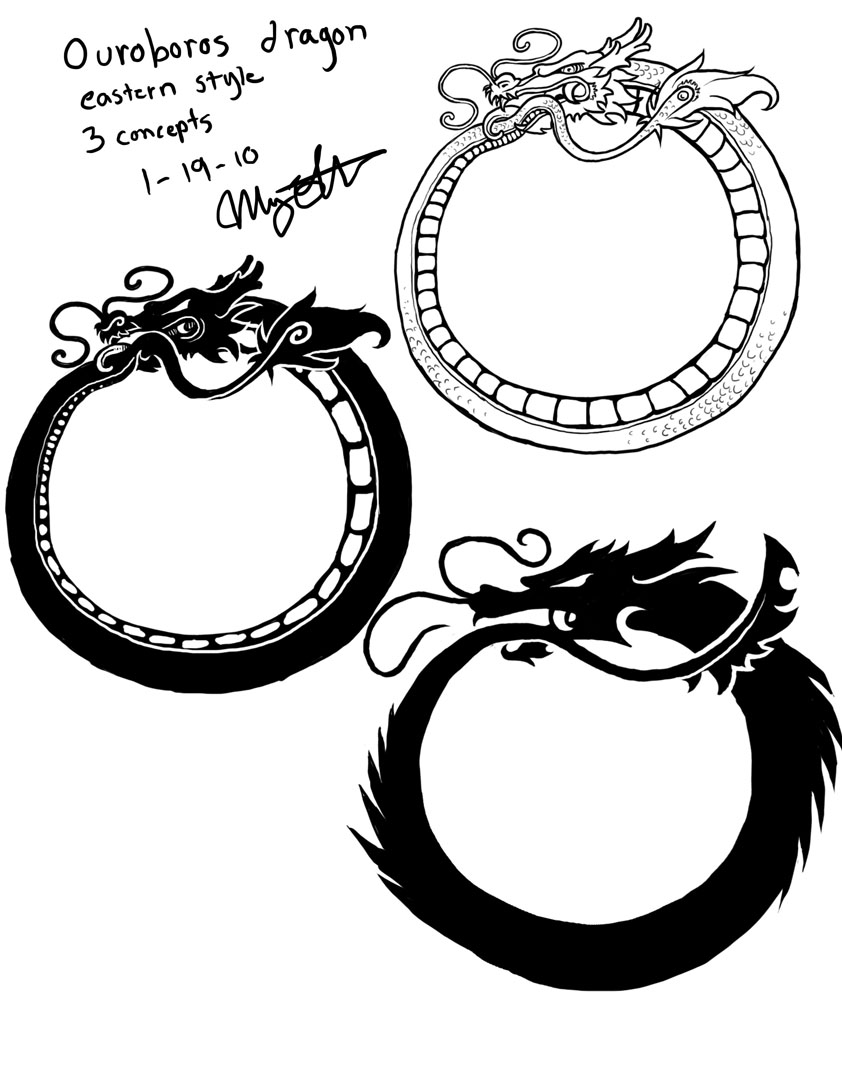 Ouroboros dragon tattoos by queenmari