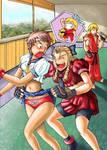 Karin flips Sakura's Skirt