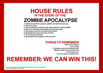 Zombie Apocalypse House Rules by romancer