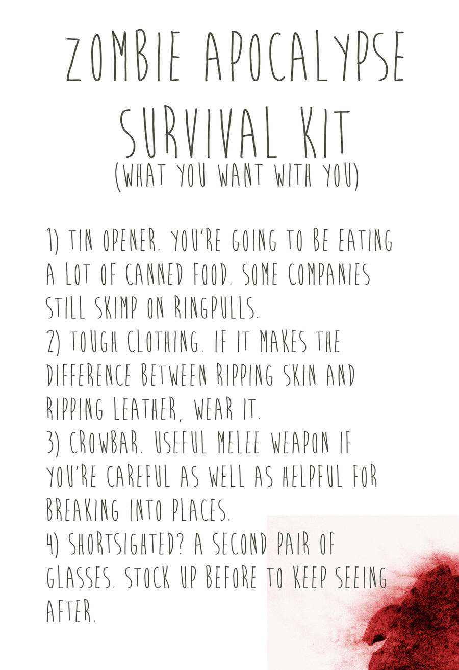 Zombie Apocalypse Survival Kit [blood] by romancer on DeviantArt