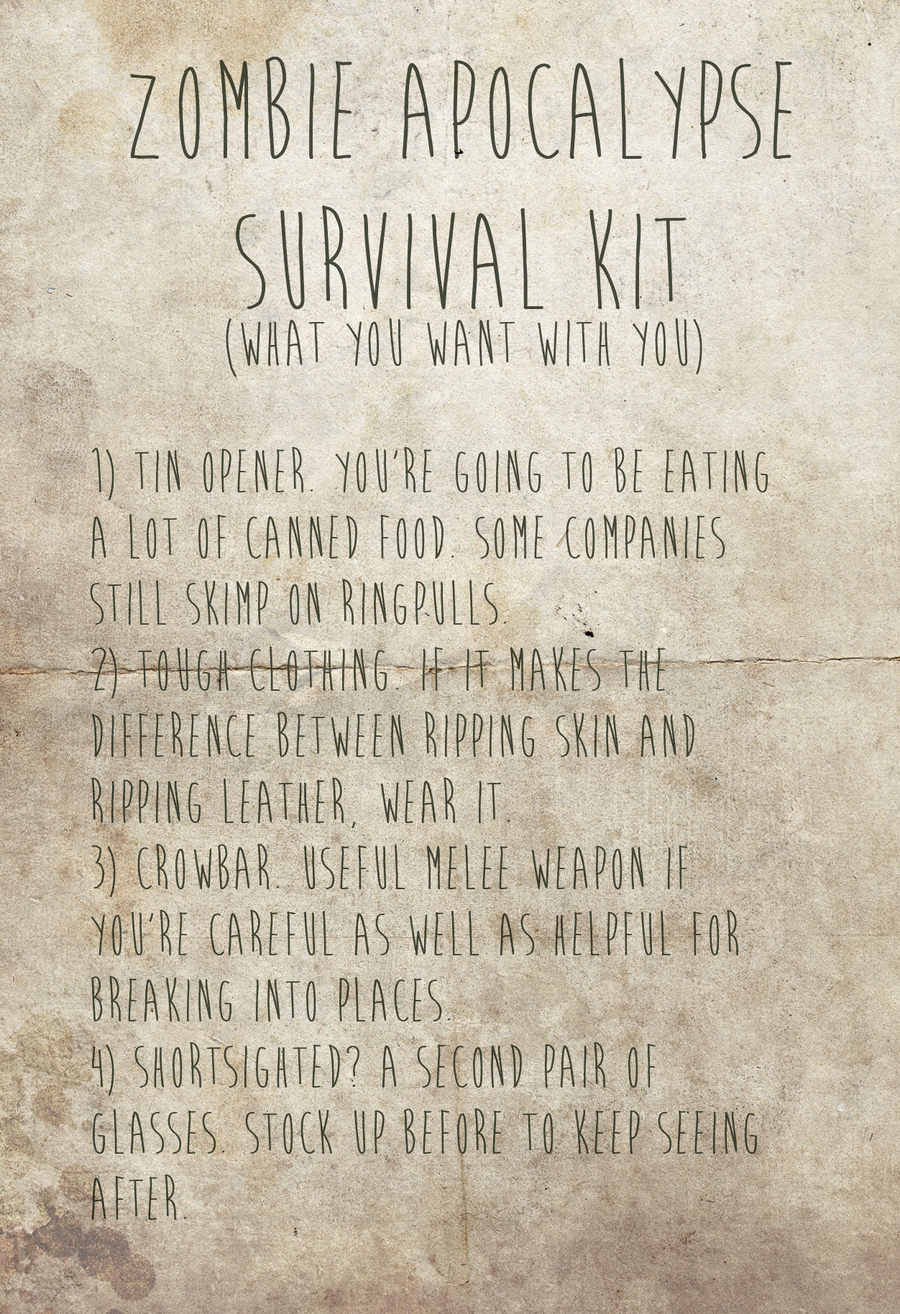 Zombie Apocalypse Survival Kit [battered] by romancer on DeviantArt