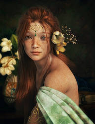 Portrait of a girl with red hair by Ikke46