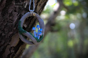 Silver tree elven necklace with woodland mushrooms by titaniaUMN