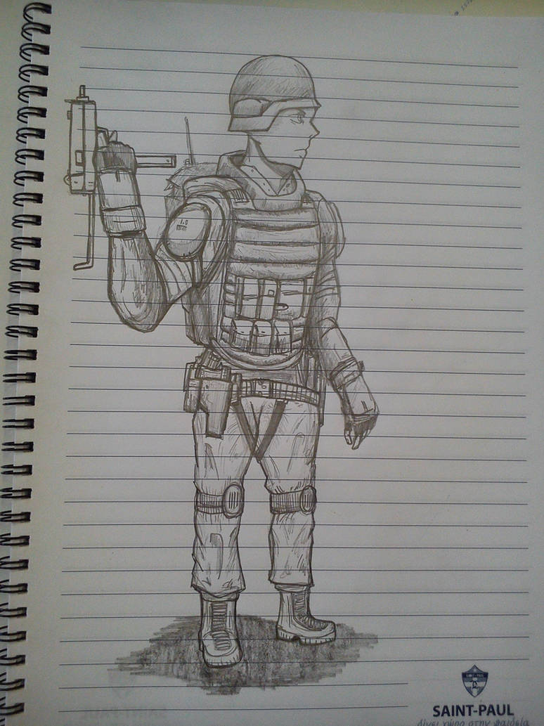 Soldier pencil sketch by gun345
