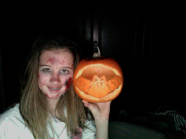 me and my pumpkin i carved !! by olivia9987