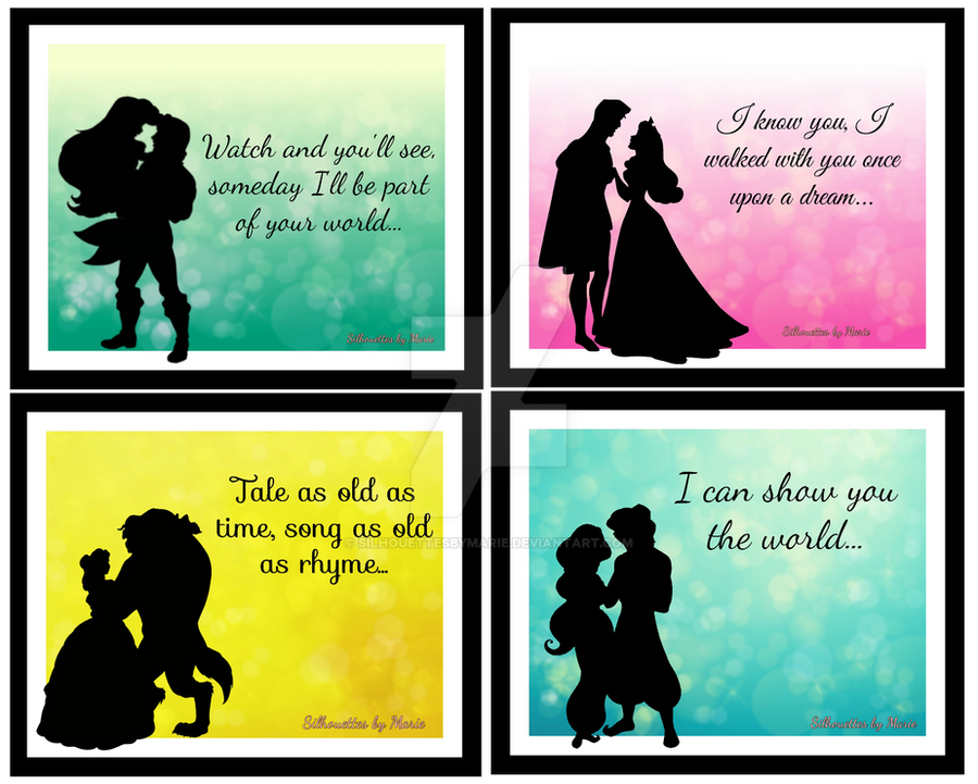 Disney Couples Love Quotes By Silhouettesbymarie On Deviantart