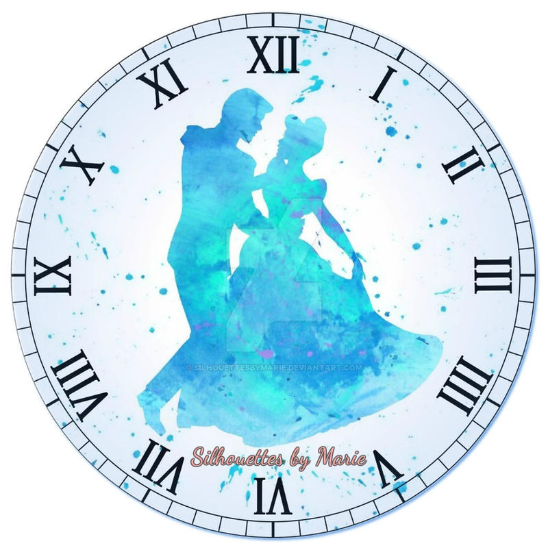 Cinderella And Prince Charming Watercolor Clock By