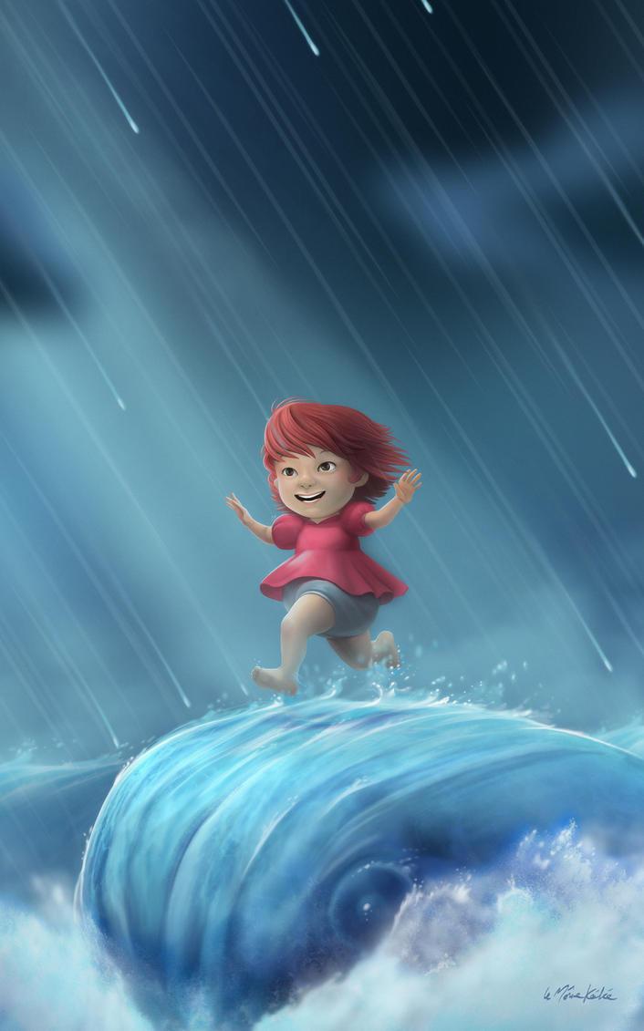Ponyo Running on a Wave by lemomekeke