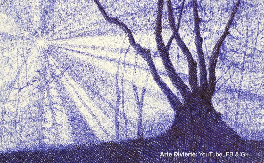 Como dibujar un arbol y bosque con pluma fuente by LeonardoPereznieto