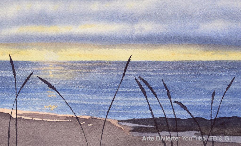 Como pintar un paisaje de mar y playa en acuarela by LeonardoPereznieto