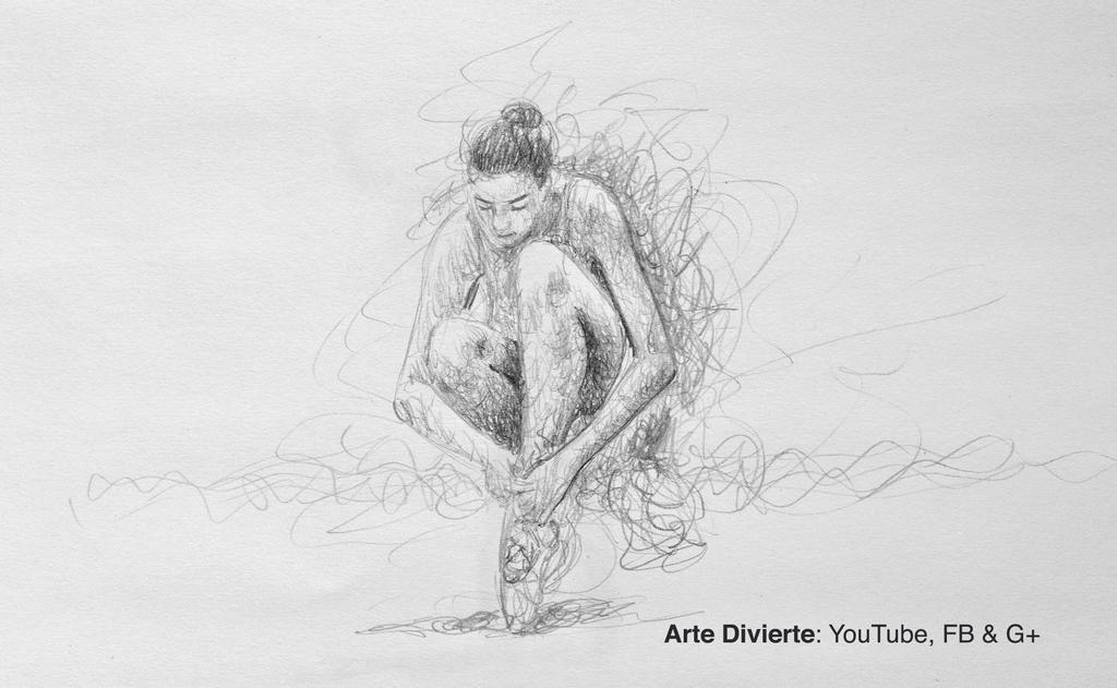 Como dibujar una bailarina sentada - Garabateando by LeonardoPereznieto