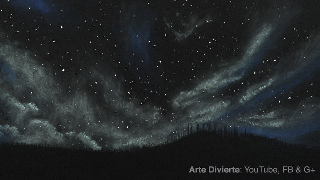 Como dibujar un cielo estrellado y nublado by LeonardoPereznieto