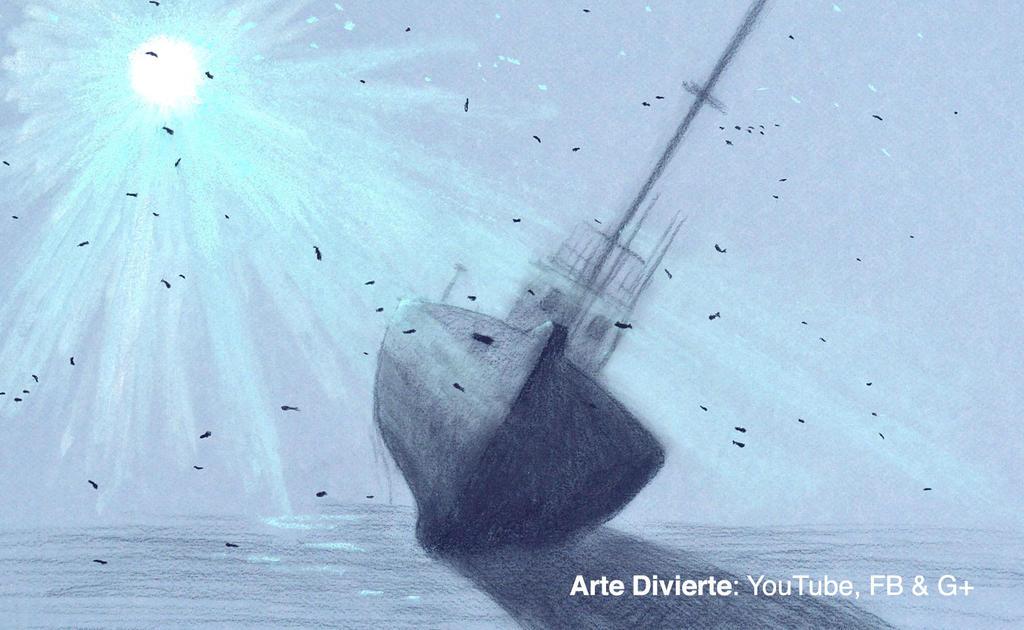 Como dibujar un naufragio (barco hundido) by LeonardoPereznieto