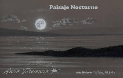 Como dibujar un paisaje nocturno con la Luna by LeonardoPereznieto
