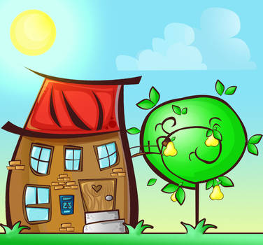Cartoon house and tree illustration
