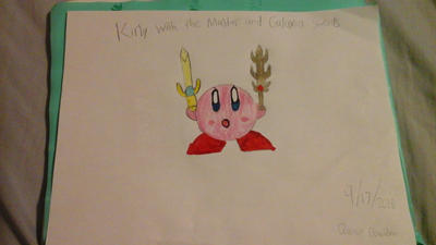 My drawing of Kirby with Galaxia and Master Sword by quincyjazimar13