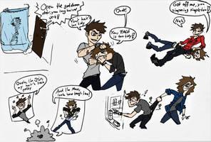 Jojo and Max fighting sketch by JoJoJonas01