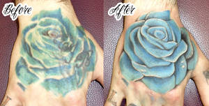 Rose cover up- retouch tattoo