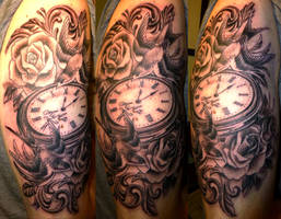 Swallows and pocket watch tattoo by onksy