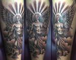 Male angel tattoo by onksy