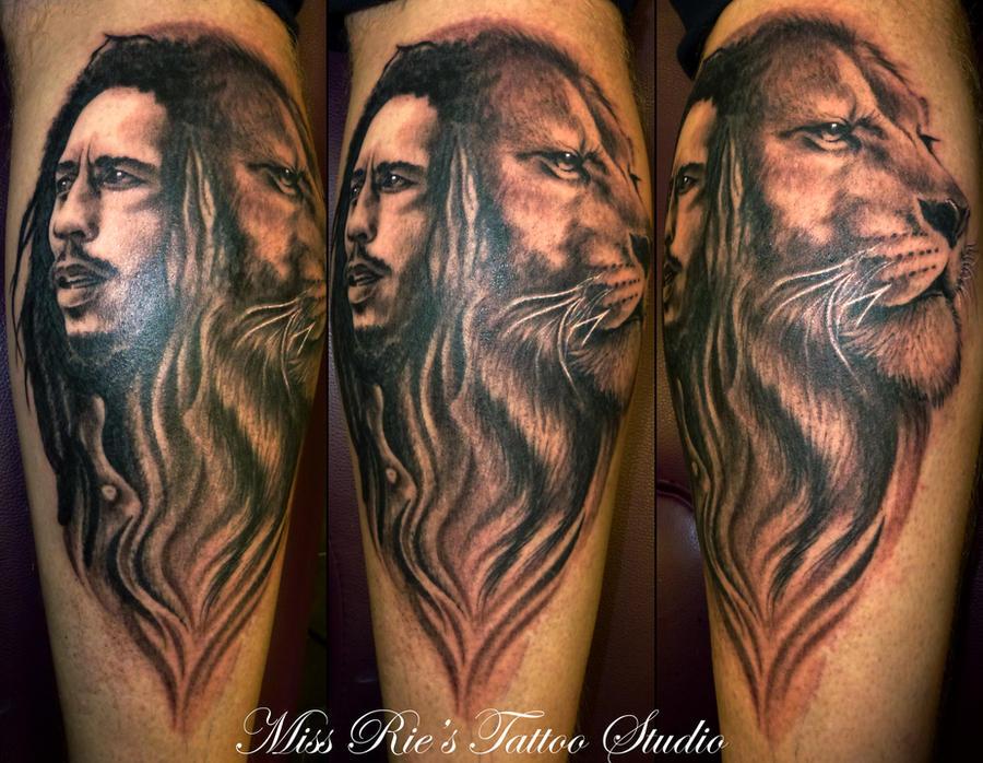bob marley and lion tattoo by onksy on deviantart. Black Bedroom Furniture Sets. Home Design Ideas