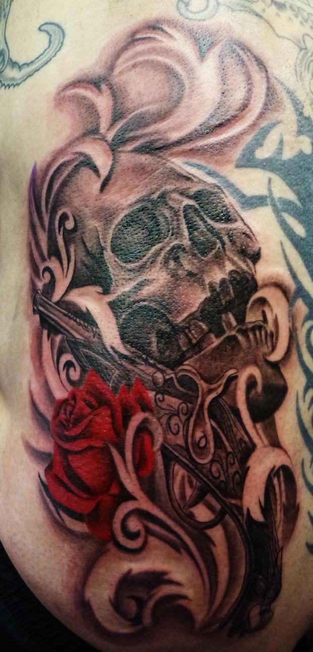 skull gun and rose tattoo by onksy on deviantart. Black Bedroom Furniture Sets. Home Design Ideas