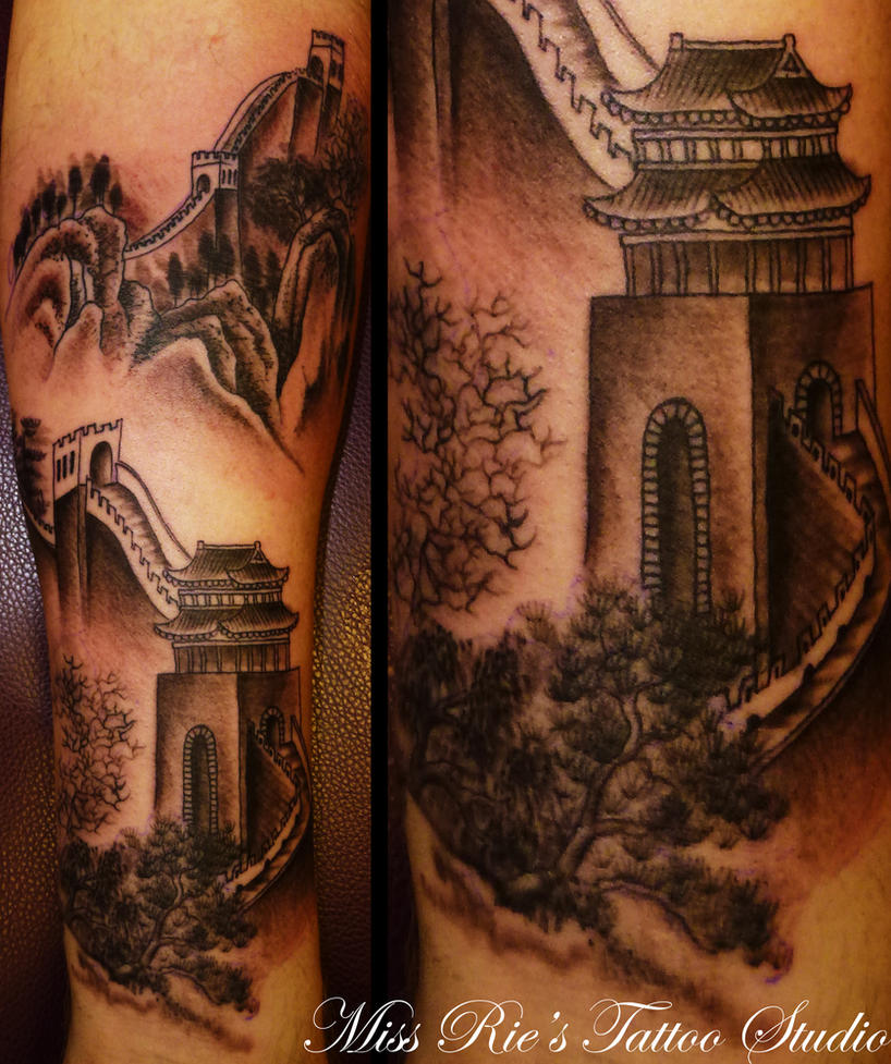 Great wall of china tattoo by ~onksy on deviantART
