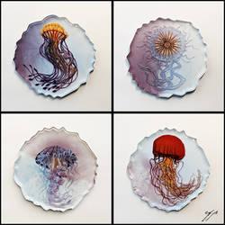 4 Jellyfish Coasters