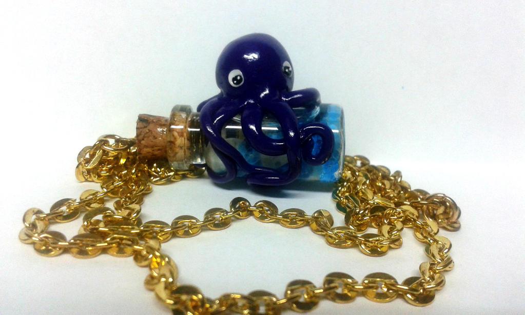 Octopus bottle charm by baboolyn