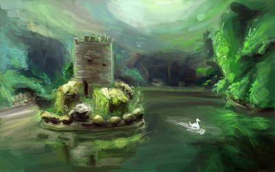 Floating Castle Speedpaint by BlackDelphin