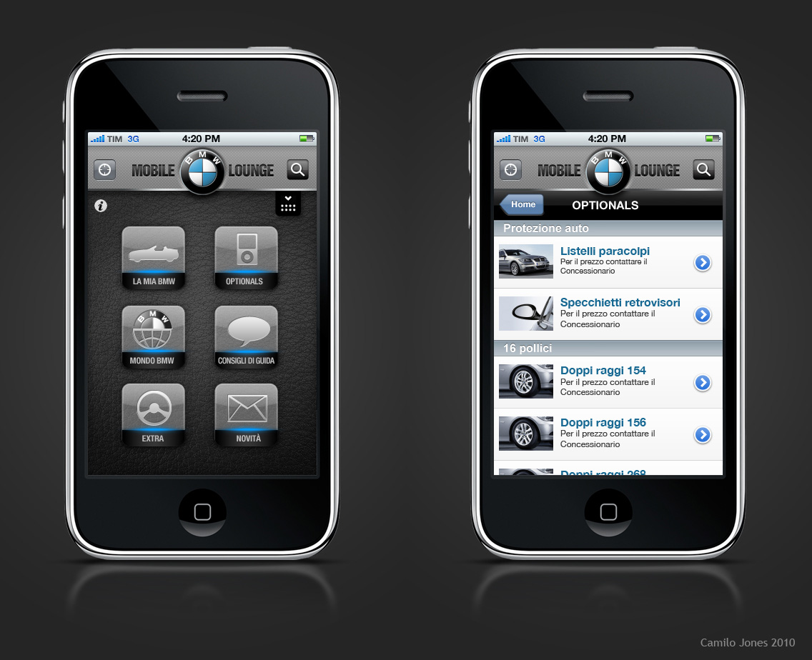 Bmw iphone app italy layout by camilojones on deviantart for Designing an iphone app